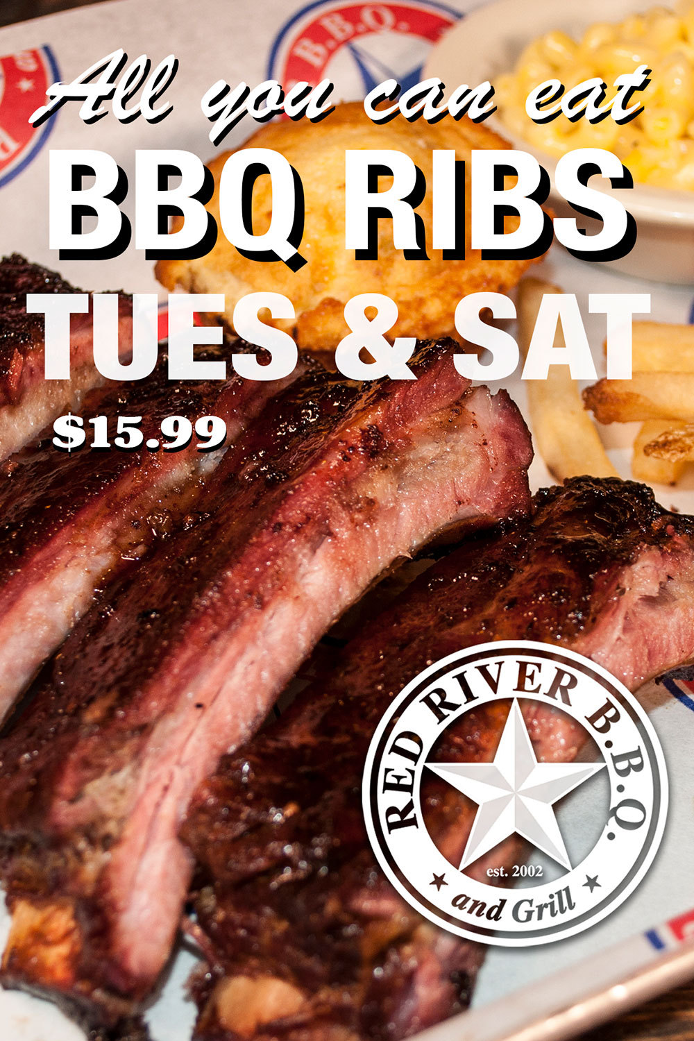 All you can eat BBQ Ribs - $15.99